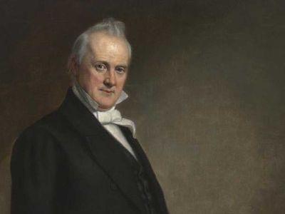 Detail of portrait of President James Buchanan by artist George Peter Alexander Healy