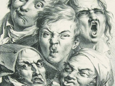 While grotesque, the faces in Louis-Leopold Boilly's The Grimaces (1823) were carefully studied from life. The figure with a twisted mouth at the upper left is a self-portrait.