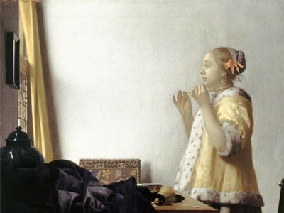 """Johannes Vermeer, """"Woman with a Pearl Necklace,"""" c. 1662-65"""
