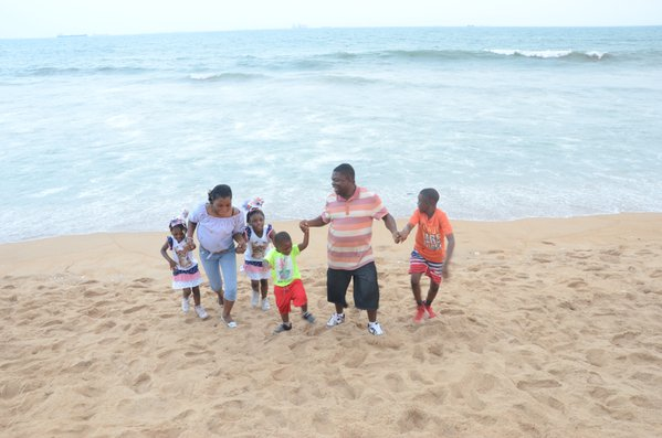 A family at the beach in Lomé , Togo  thumbnail