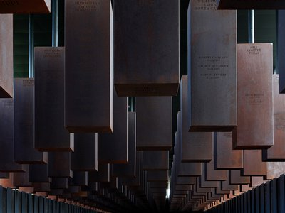 Over 800 corten-steel monuments, one for each county in the United States where a racial terror lynching took place, on display at the National Memorial For Peace And Justice
