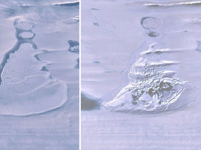 Satellite images of the Southern Amery Ice Shelf show the ice-covered lake before and after a fracture in the ice shelf beneath caused it to drain into the sea.