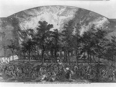 An engraving from later in the 1880s shows rioters burning an orphanage for black children.