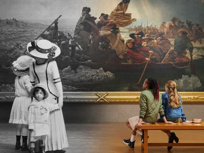 Left, 19th century visitors view Washington Crossing the Delaware (1851) by Emanuel Leutze; right, 21st- century visitors gaze upon the same work.