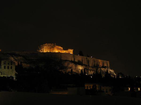 Parthenon restoration at night thumbnail