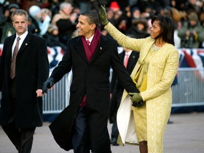 """""""First ladies still tend to be more mysterious than the presidents,"""" says Smithsonian curator Lisa Kathleen Graddy. """"We're always hoping once the First Lady is out of office (above: Michelle Obama and President Barack Obama, January 20, 2009) she's going to let us in a little more."""""""
