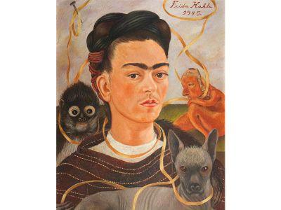 Frida Kahlo, Self-Portrait With Small Monkey, 1945, oil on masonite