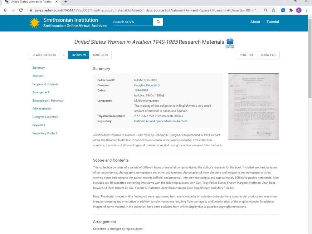 Screen capture of Smithsonian Online Virtual Archives (SOVA) Overview page for the United States Women in Aviation 1940-1985 Research Materials collection in the National Air and Space Museum Archives.