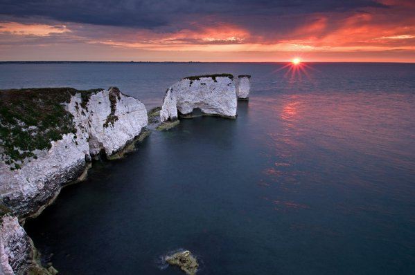 Old Harry Rocks denotes the Eastern boundary of the Jurassic Coast World Heritage Site in Dorset, England thumbnail