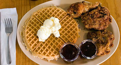 Chicken and waffles from Roscoe's