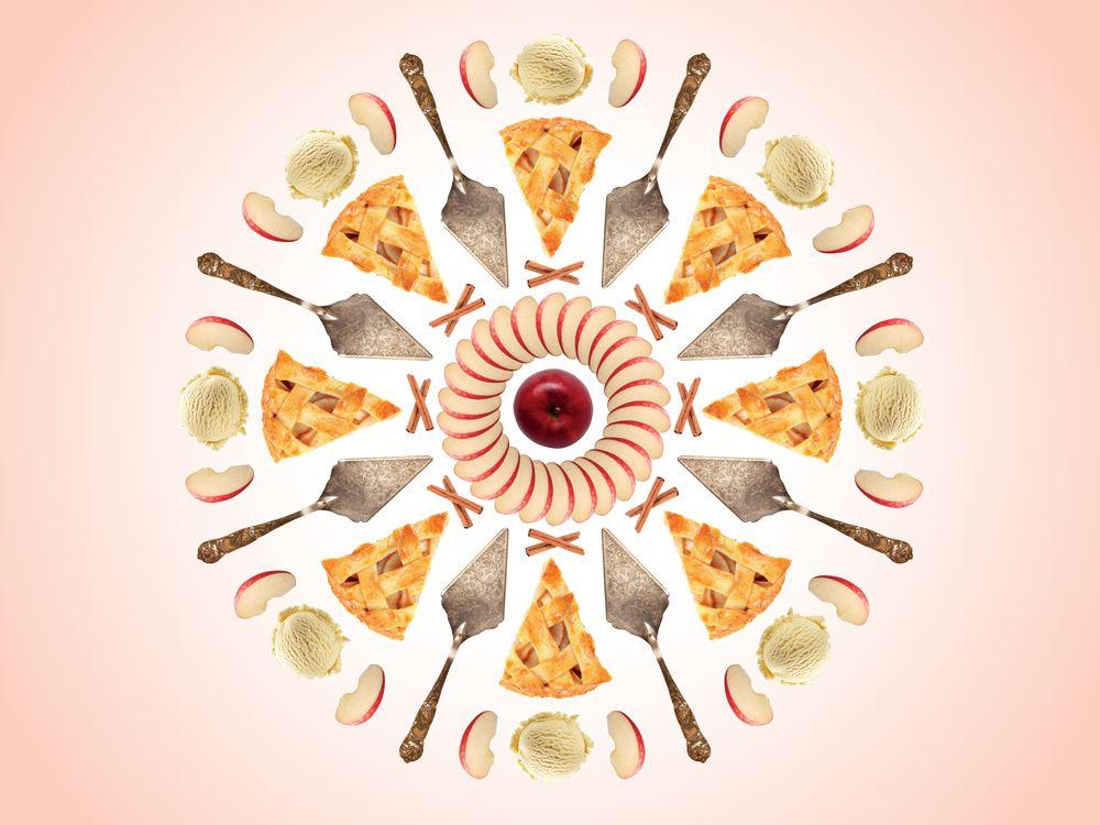 collage of apple pie slices