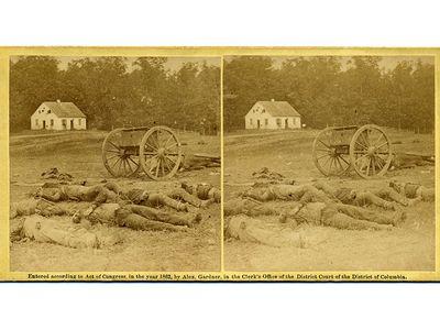 An 1862 Alexander Gardner photograph shows the bodies of dead Confederate artillerymen at Antietam.