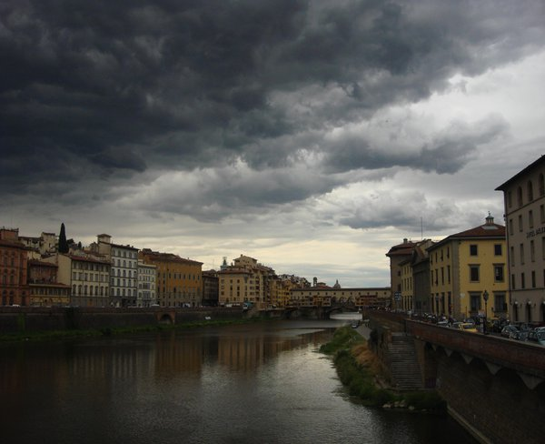 Ponte Vecchio in Florence, Italy as a storm was coming in thumbnail