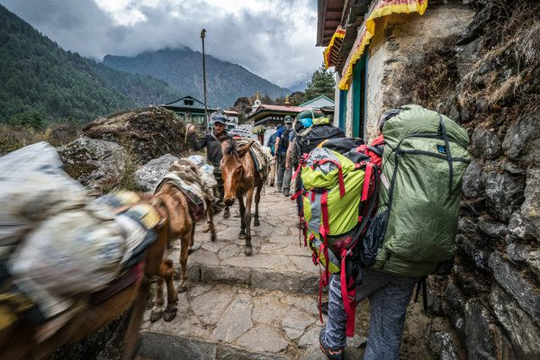Donkeys and people to-and-from Everest Base Camp thumbnail