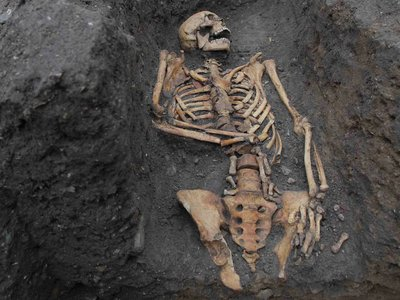 The remains of an individual buried at the Augustinian friary, pictured during excavations in 2016