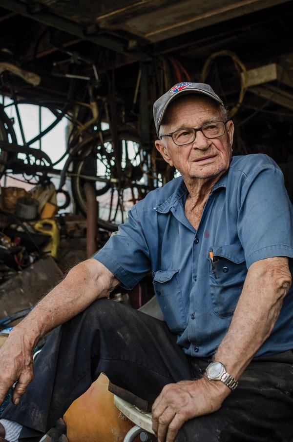 Ninety-Two-year-old mechanic sitting in his garage thumbnail