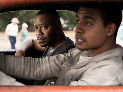 Malcolm Barrett as Rufus Carlin, left, with Joseph Lee Anderson as race car driver Wendell Scott