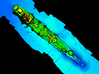 A sonar scan of the German warship Karlsruhe, which was recently discovered off the southern coast of Norway