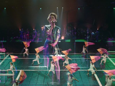 Singer-songwriter St. Vincent performs with color guard team Field of View.