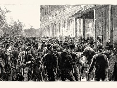 Illustration of the lynchers breaking into the prison in 1891
