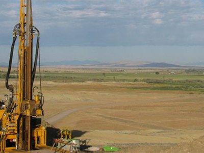 The truck-mounted coring rig set up at the Basin Substation site.