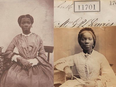 Sarah Forbes Bonetta, as seen in 1856 (left) and 1862 (right). Hannah Uzor's new portrait is based on the 1862 photograph.