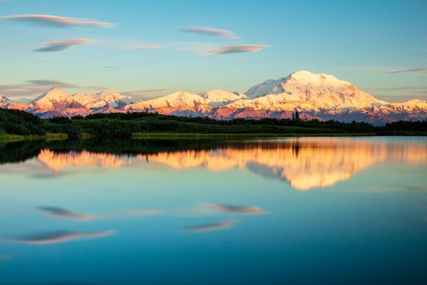 Denali and Reflection at Sunset-- Clouds Flit By thumbnail