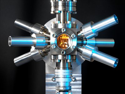 This optical atomic clock uses strontium atoms to tell time.