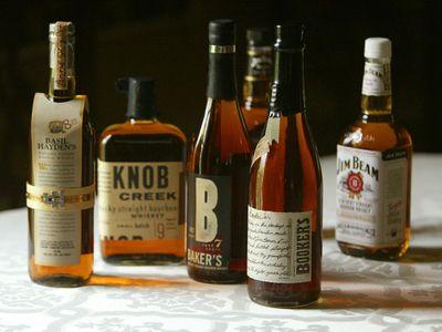 A display of Jim Beam bourbons at a Kentucky distillery.