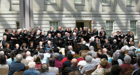 The Encore Chorale at the Kogod Courtyard at last year's popular performance.