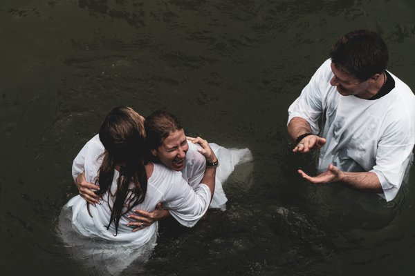 Exuberance after an afternoon baptism in the Jordan River thumbnail