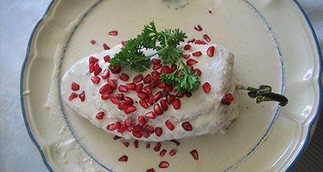 Chiles en nogada, the patriotically colored dish