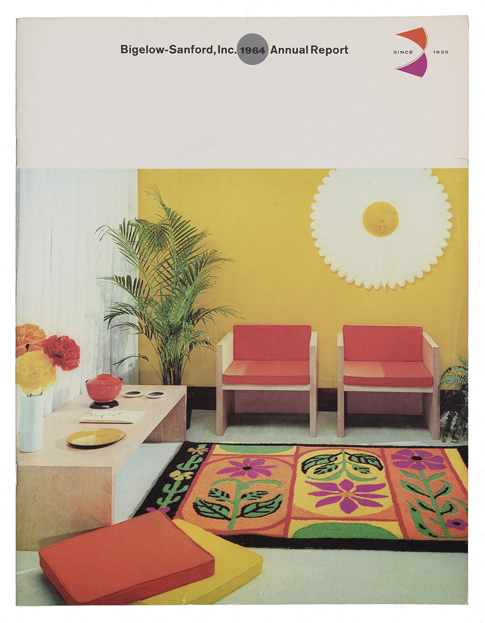 Cover of corporate report featuring a photograph of a brightly colored waiting room with a yellow wall; large palm plant; two red chair; a low table with flowers and other objects; two orange and yellow square cushions on the floor.