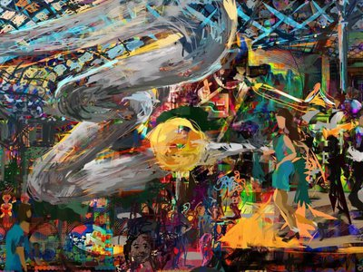 Digital artist Jeremy Sutton's finished painting captured the many elements of the event.