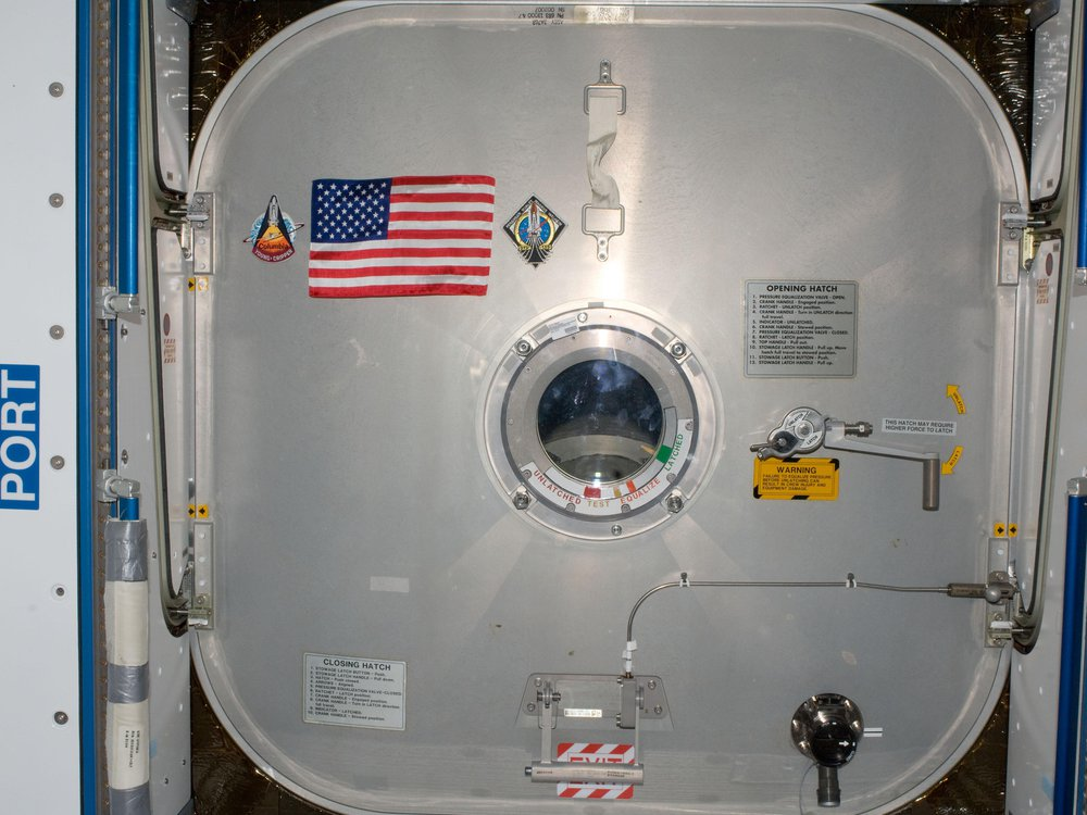 This American flag was left on the International Space Station by the crew of STS-135, the last space shuttle mission, with the intention of it being retrieved by the next crew to launch from American soil.