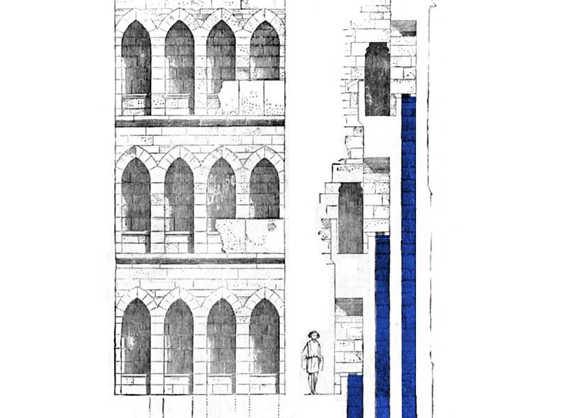 Stepped garderobe shafts at Langley Castle, by Viollet-le-Duc