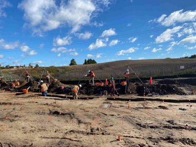 Archaeologists completing excavations on Fischer-Hallman Road