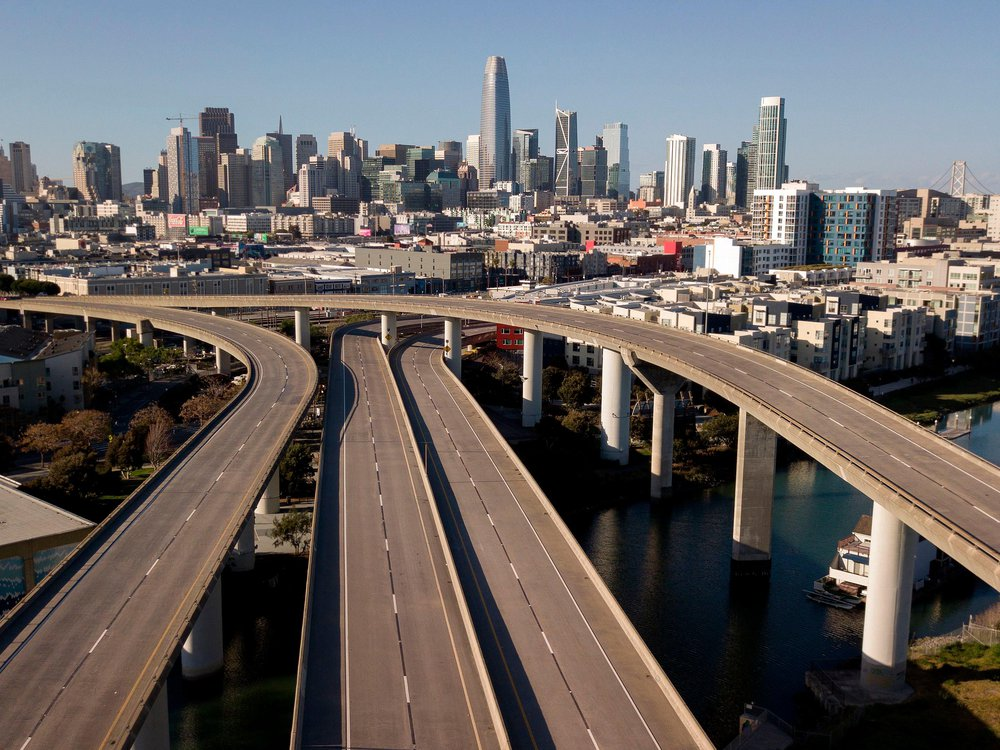 Empty interstate in San Francisco
