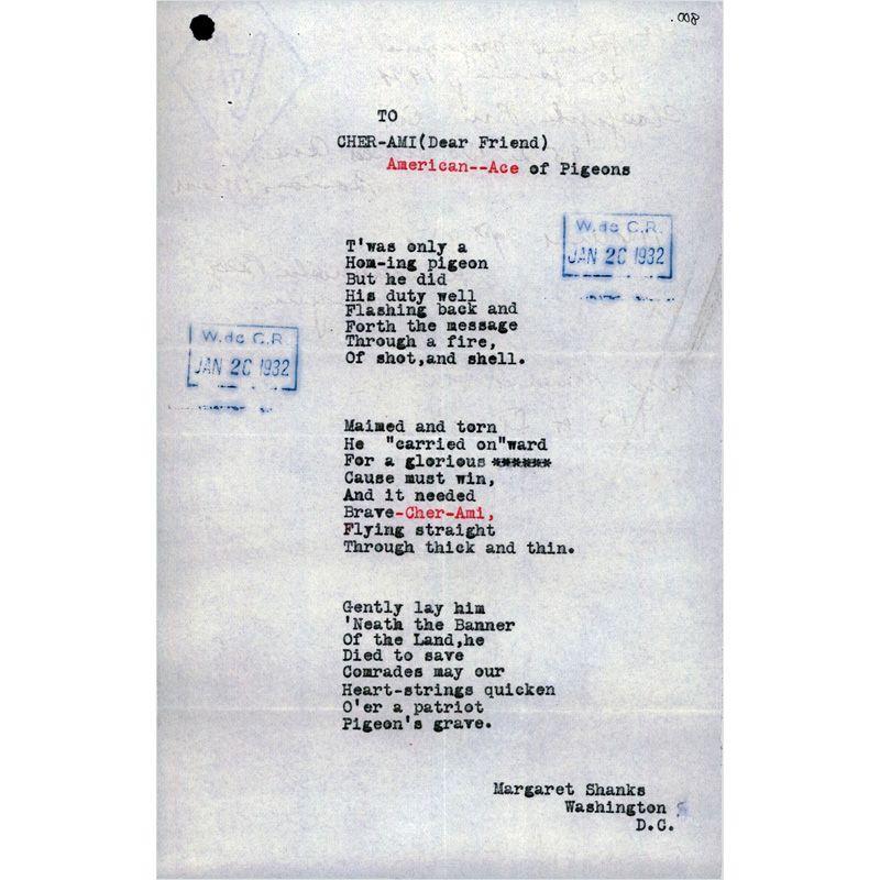 Typewritten poem on white paper