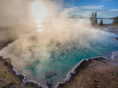"""The otherworldly terrain dazzled early explorers. In 1827, trapper Daniel Potts noted that geysers erupted with a roar like """"that of thunder."""""""