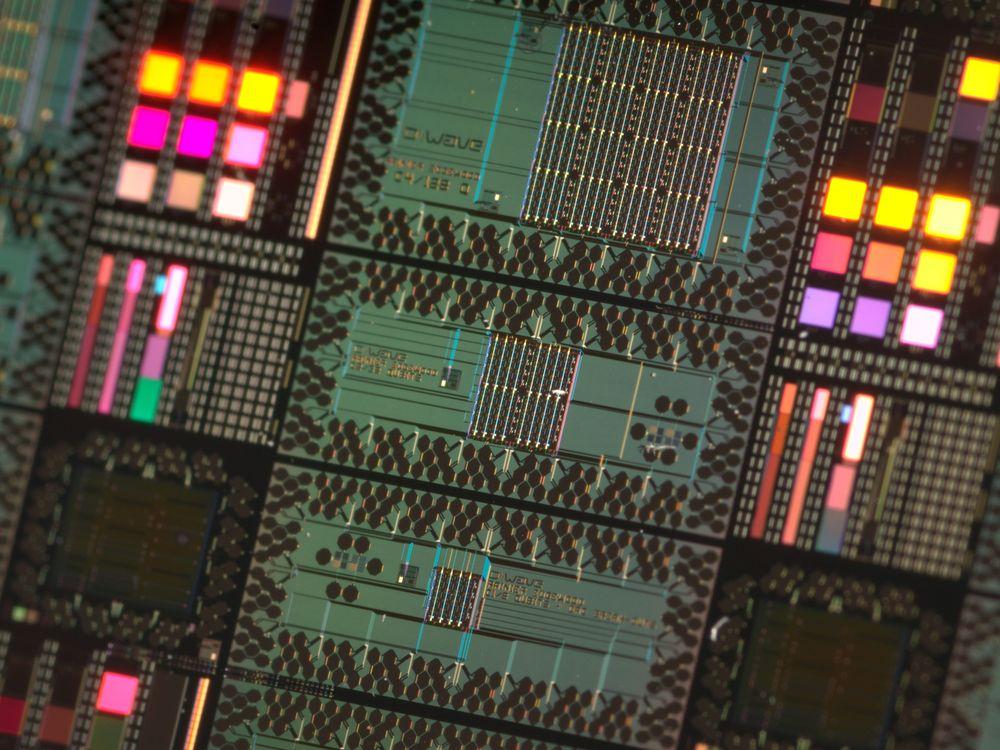 Close up of a processor for a D-Wave quantum computer.