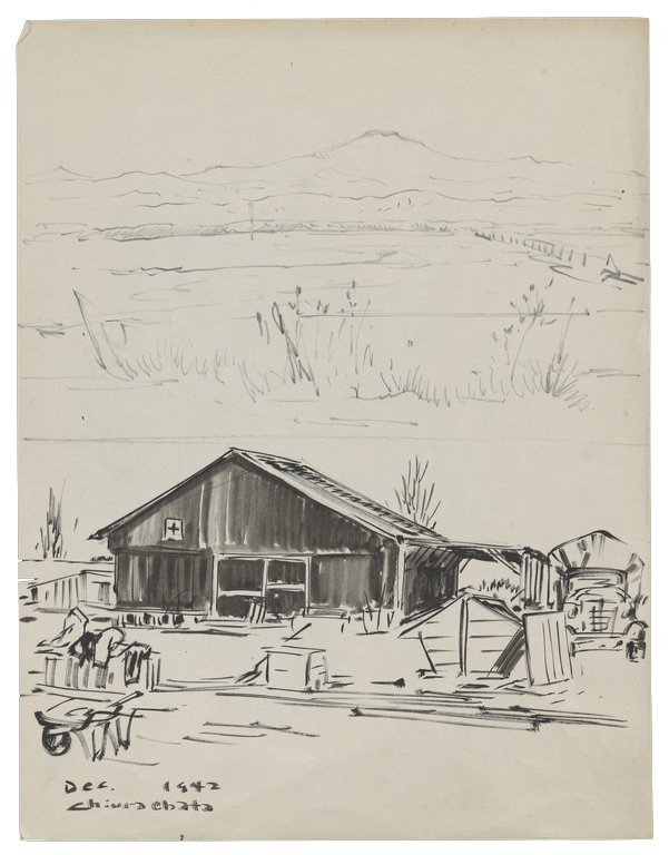 Black and white ink sketch by Obata showing a building with the symbol of the Red Cross, and Army truck, and various farming tools and small shed structures, with a field and mountains in the background.