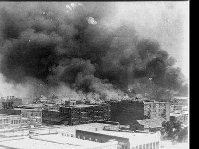 Smoke billows over Tulsa, Oklahoma in 1921.