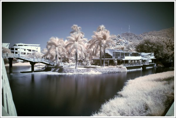 A digital infrared photograph of a house near a river in Puerto Vallarta, Mexico. thumbnail