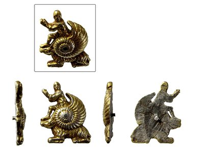 The intricately crafted ornament, which depicts a knight emerging out of a snail shell perched atop of a goat, measures less than an inch long.