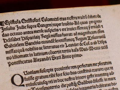 An authentic copy of a letter written by Christopher Columbus as displayed at the Vatican. The United States is returning to the Vatican Library a letter written by Christopher Columbus in 1493 announcing his discovery of the New World that was stolen and replaced with a forgery.