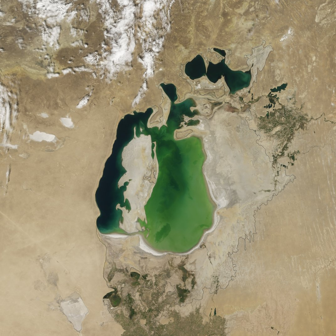 """The Aral Sea in 2010. <a href=""""http://earthobservatory.nasa.gov/Features/WorldOfChange/aral_sea.php"""">NASA Earth Observatory</a>"""