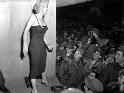 Marilyn Monroe performs at a USO show in 1954.