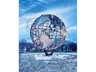 """The world's largest model world, the Unisphere was erected for the grand fair themed """"peace through understanding."""""""