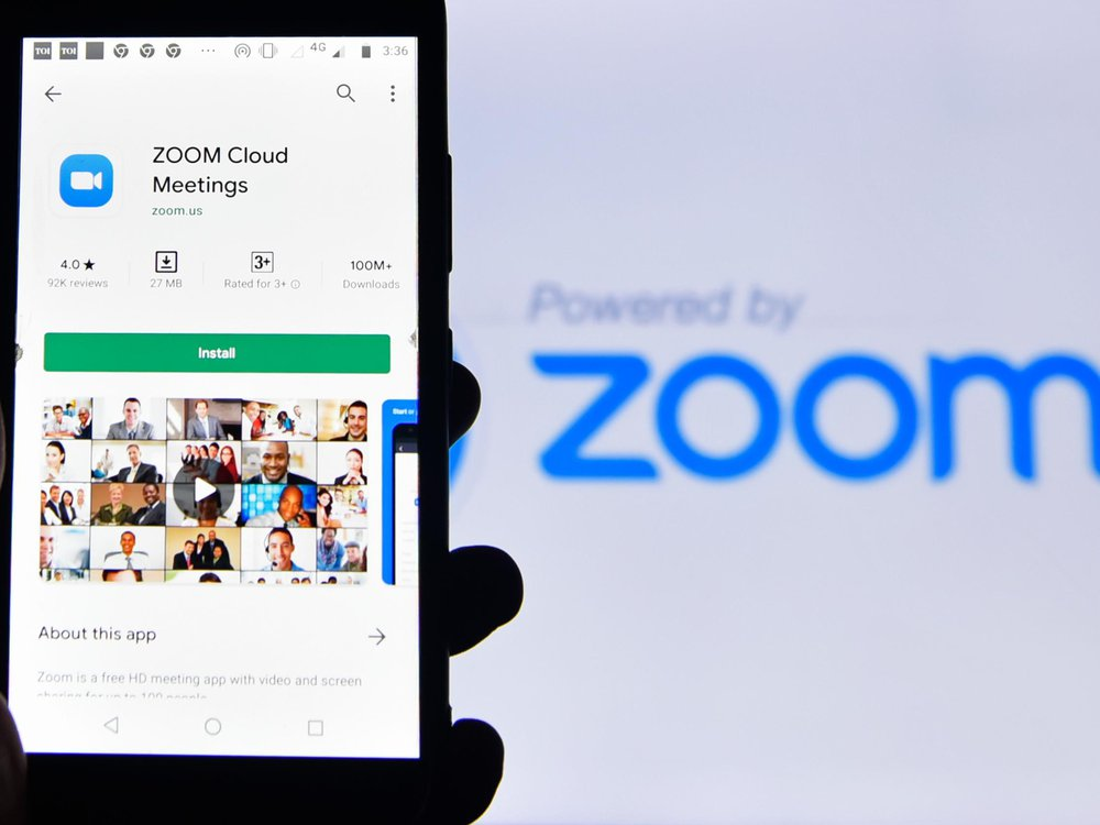 Phone with the Zoom app open
